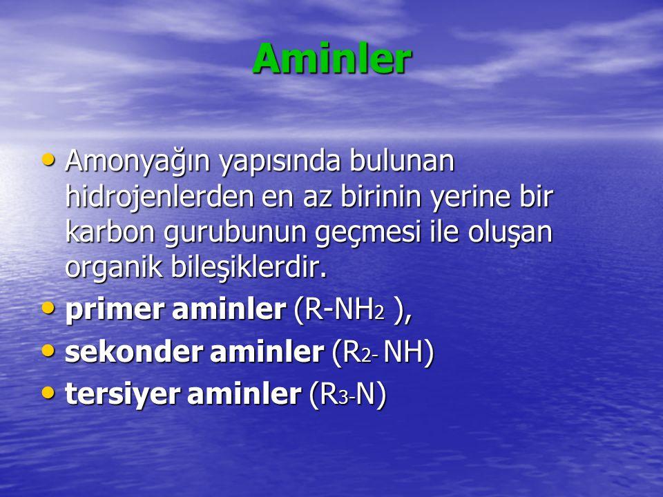 Aminler Amin gurubundan başka fonksiyonel gurup bulunmaz ise molekül amin olarak adlandırılır.