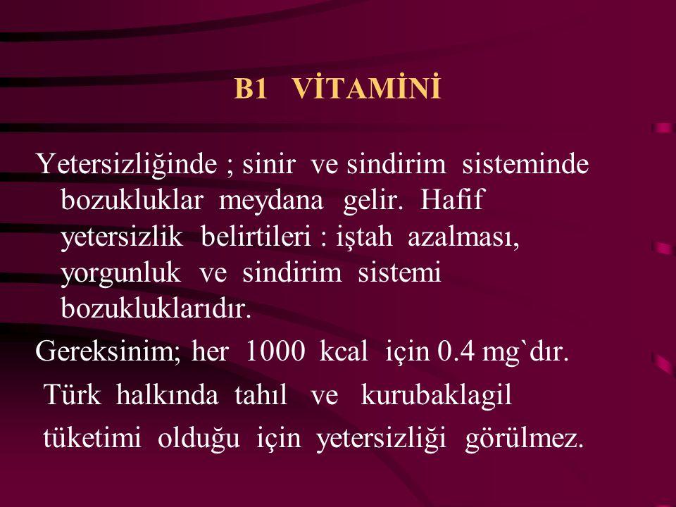 B1 VİTAMİNİ ( Tiamin ) Yiyeceklerin pişme suyuna geçer. Besinlerin yüksek sıcaklıkta pişirilmemesi ve sularının dökülmemesi gerekir. Enerji metabolizm