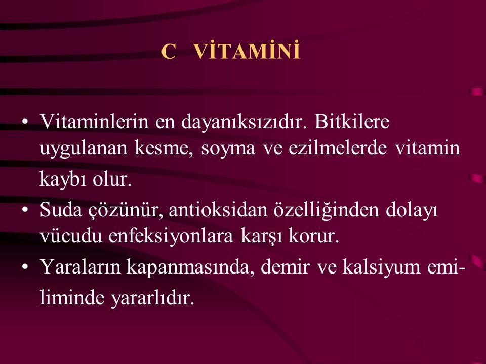 B2 VİTAMİNİ ( Riboflavin) B1 vitaminine göre daha fazla ısıya dayanıklıdır. Protein, yağ, karbonhidrat metabolizmasında gereklidir. Kaynakları ; karac