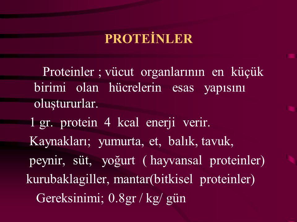 BESİN ÖĞELERİ Proteinler Karbonhidratlar Yağlar Vitaminler Mineraller Su