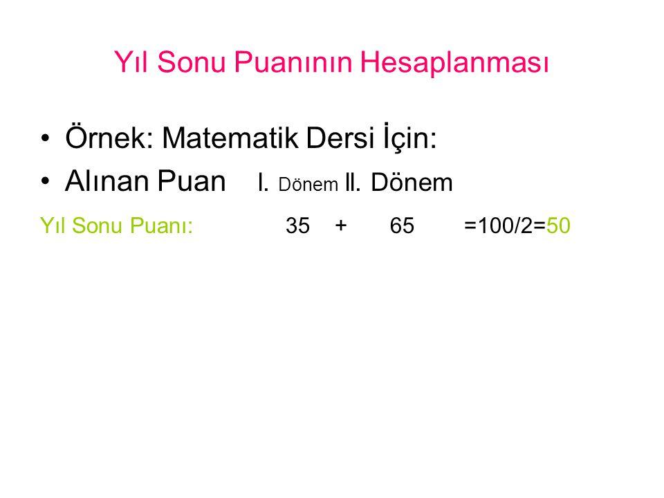 Yıl Sonu Puanının Hesaplanması Örnek: Matematik Dersi İçin: Alınan Puan l. Dönem ll. Dönem Yıl Sonu Puanı: 35 + 65 =100/2=50
