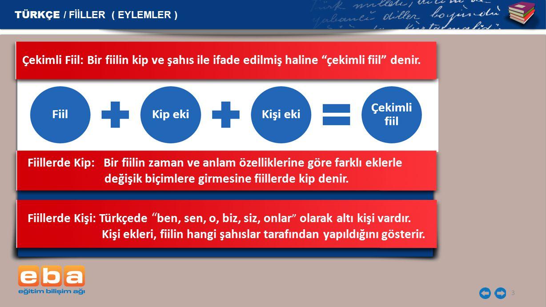 """3 TÜRKÇE / FİİLLER ( EYLEMLER ) Fiillerde Kişi: Türkçede """" ben, sen, o, biz, siz, onlar """" olarak altı kişi vardır. Kişi ekleri, fiilin hangi şahıslar"""