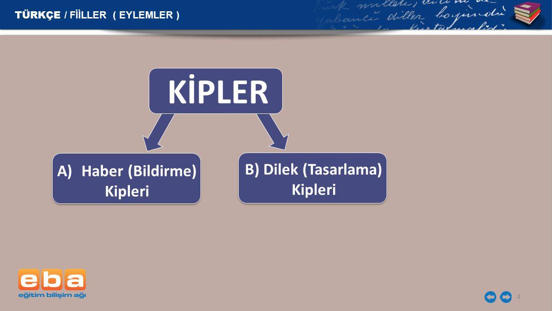 4 TÜRKÇE / FİİLLER ( EYLEMLER ) KİPLER A)Haber (Bildirme) Kipleri B) Dilek (Tasarlama) Kipleri