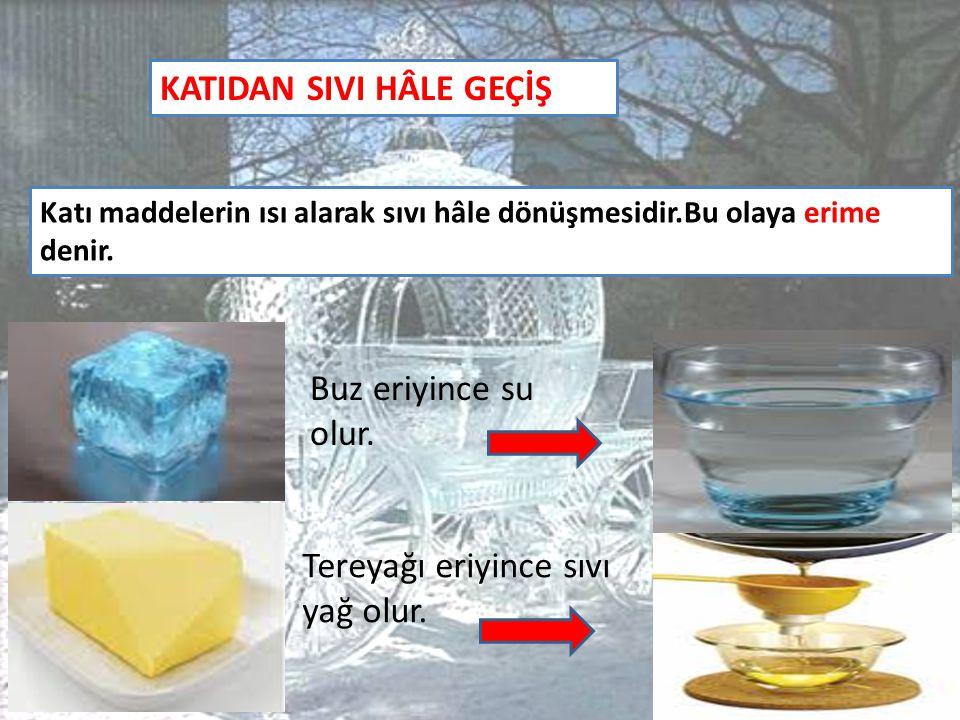 KATIDAN SIVI HÂLE GEÇİŞ Katı maddelerin ısı alarak sıvı hâle dönüşmesidir.Bu olaya erime denir. Buz eriyince su olur. Tereyağı eriyince sıvı yağ olur.