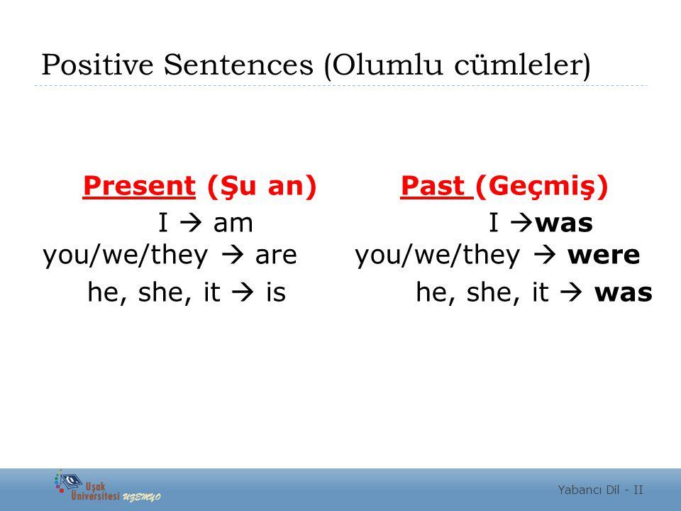 Positive Sentences (Olumlu cümleler) Present (Şu an) Past (Geçmiş) I  am I  was you/we/they  are you/we/they  were he, she, it  is he, she, it 