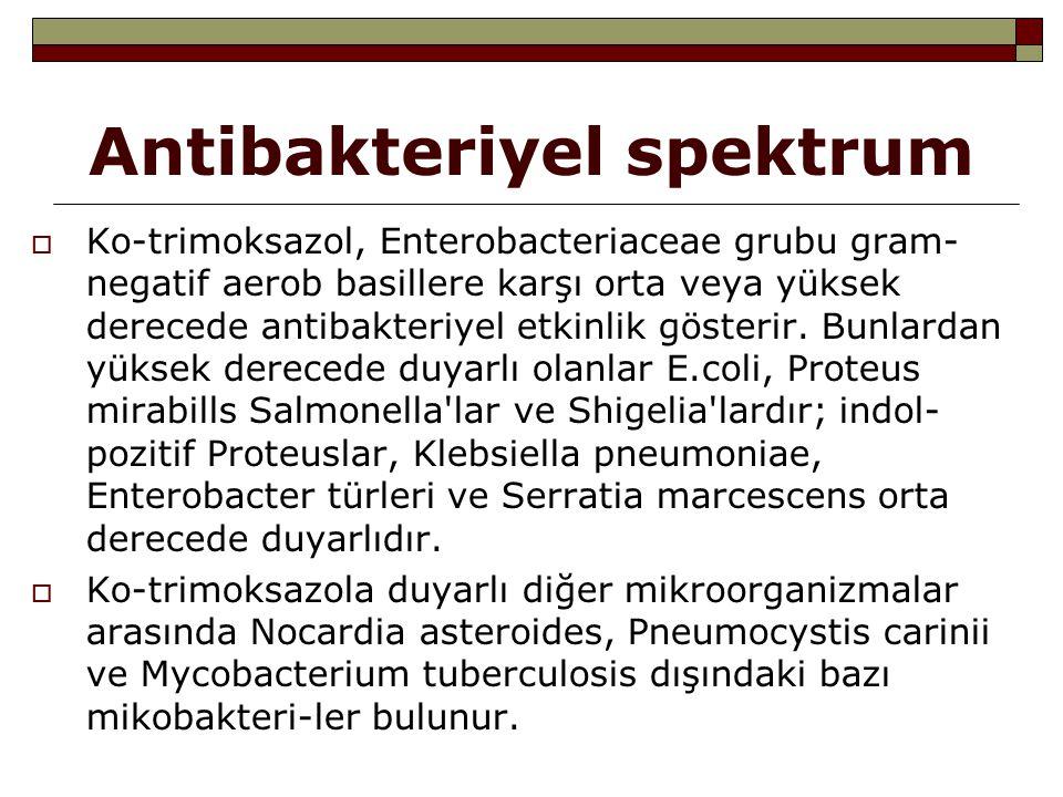 Antibakteriyel spektrum  Ko-trimoksazol, Enterobacteriaceae grubu gram- negatif aerob basillere karşı orta veya yüksek derecede antibakteriyel etkinl