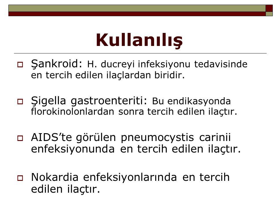Kullanılış  Şankroid: H. ducreyi infeksiyonu tedavisinde en tercih edilen ilaçlardan biridir.  Şigella gastroenteriti: Bu endikasyonda florokinolonl