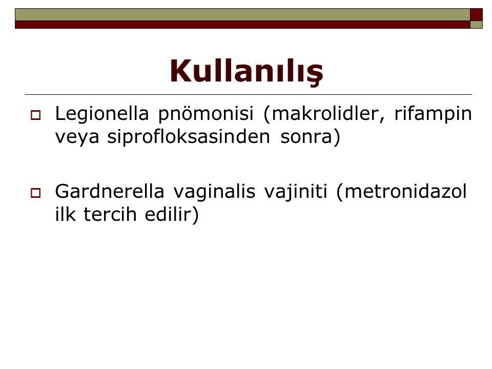 Kullanılış  Legionella pnömonisi (makrolidler, rifampin veya siprofloksasinden sonra)  Gardnerella vaginalis vajiniti (metronidazol ilk tercih edili