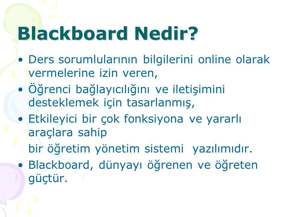 Blackboard Nedir? Ders sorumlularının bilgilerini online olarak vermelerine izin veren, Öğrenci bağlayıcılığını ve iletişimini desteklemek için tasarl