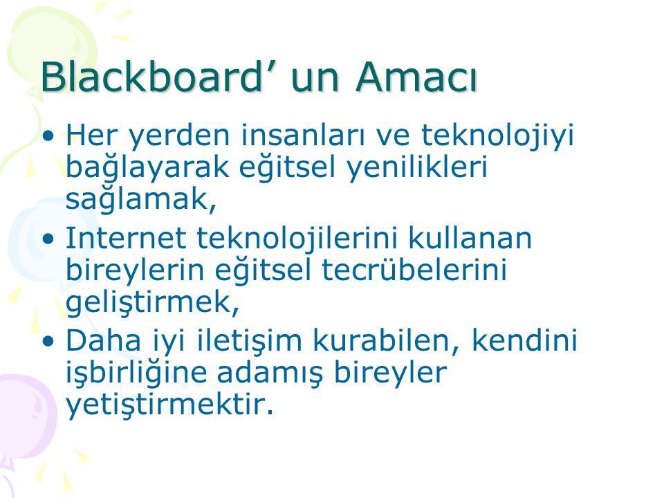 Blackboard' un Amacı Her yerden insanları ve teknolojiyi bağlayarak eğitsel yenilikleri sağlamak, Internet teknolojilerini kullanan bireylerin eğitsel