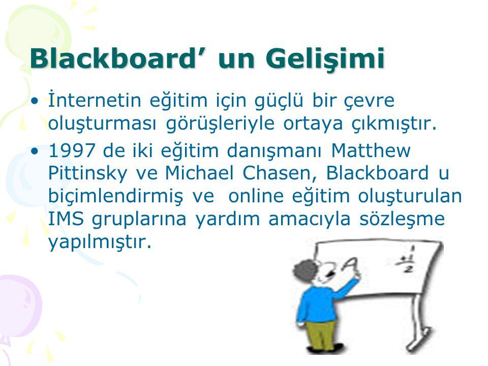 Blackboard' un Gelişimi İnternetin eğitim için güçlü bir çevre oluşturması görüşleriyle ortaya çıkmıştır. 1997 de iki eğitim danışmanı Matthew Pittins
