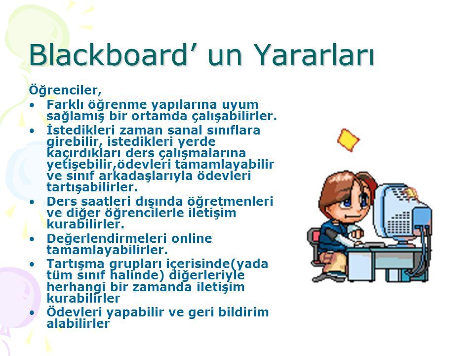 Blackboard' un Yararları Öğrenciler, Farklı öğrenme yapılarına uyum sağlamış bir ortamda çalışabilirler. İstedikleri zaman sanal sınıflara girebilir,