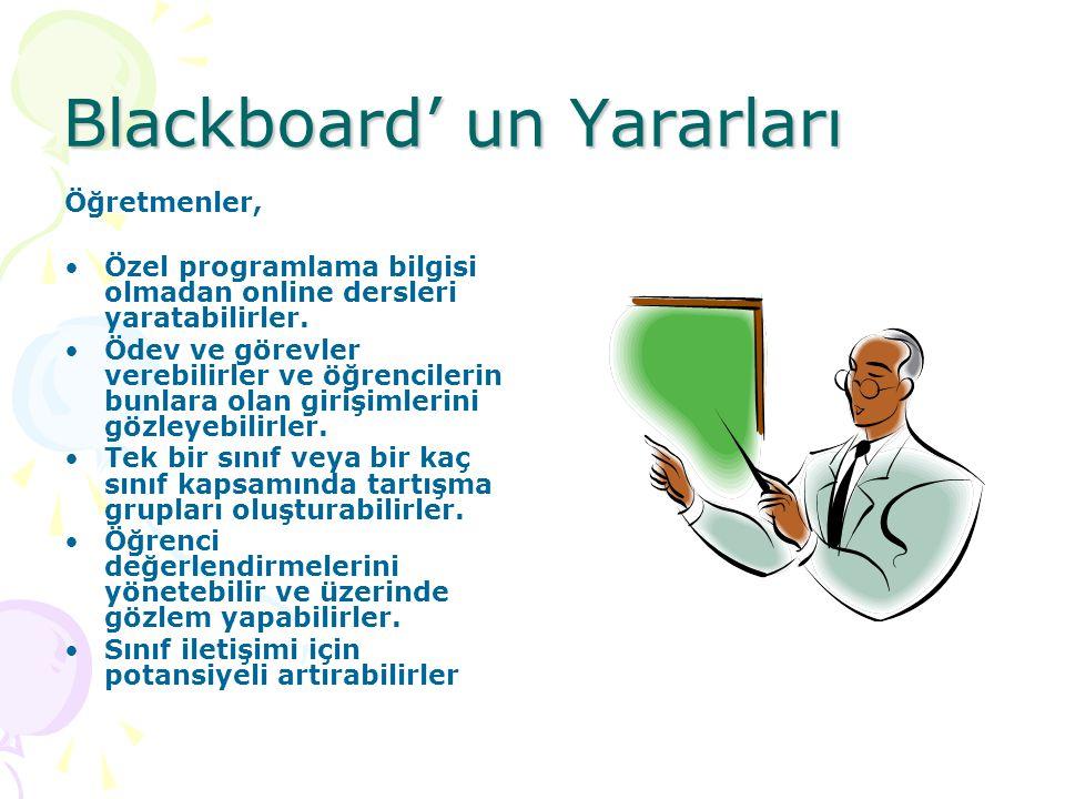 Blackboard' un Yararları Öğretmenler, Özel programlama bilgisi olmadan online dersleri yaratabilirler. Ödev ve görevler verebilirler ve öğrencilerin b