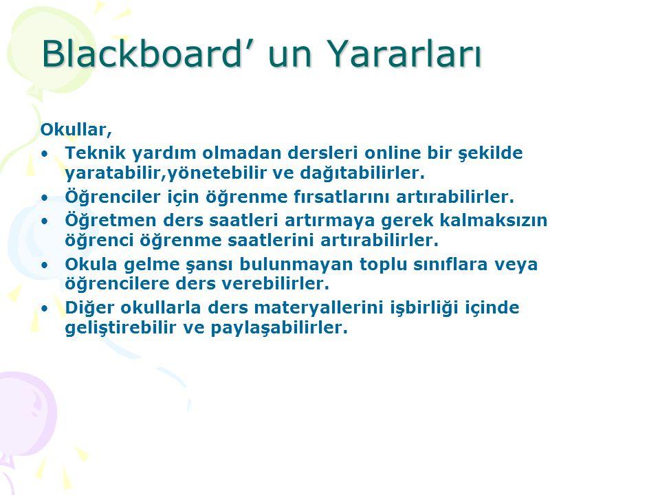 Blackboard' un Yararları Okullar, Teknik yardım olmadan dersleri online bir şekilde yaratabilir,yönetebilir ve dağıtabilirler. Öğrenciler için öğrenme