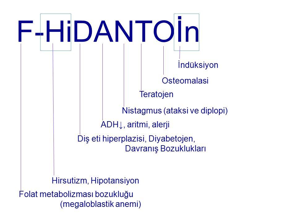 F-HiDANTOİn İndüksiyon Osteomalasi Teratojen Nistagmus (ataksi ve diplopi) ADH↓, aritmi, alerji Diş eti hiperplazisi, Diyabetojen, Davranış Bozuklukları Hirsutizm, Hipotansiyon Folat metabolizması bozukluğu (megaloblastik anemi)