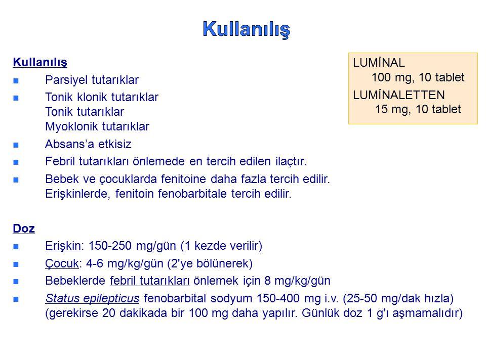 Kullanılış Parsiyel tutarıklar Tonik klonik tutarıklar Tonik tutarıklar Myoklonik tutarıklar Absans'a etkisiz Febril tutarıkları önlemede en tercih ed