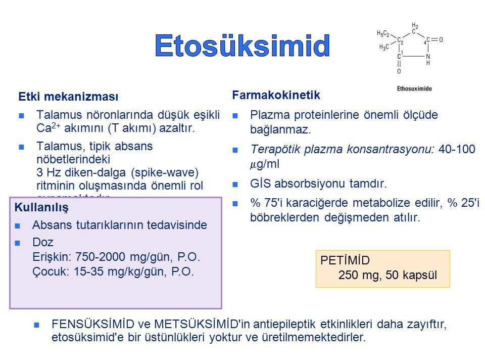 Etki mekanizması Talamus nöronlarında düşük eşikli Ca 2+ akımını (T akımı) azaltır.