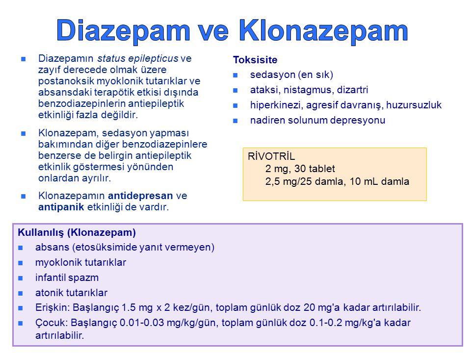 Diazepamın status epilepticus ve zayıf derecede olmak üzere postanoksik myoklonik tutarıklar ve absansdaki terapötik etkisi dışında benzodiazepinlerin antiepileptik etkinliği fazla değildir.