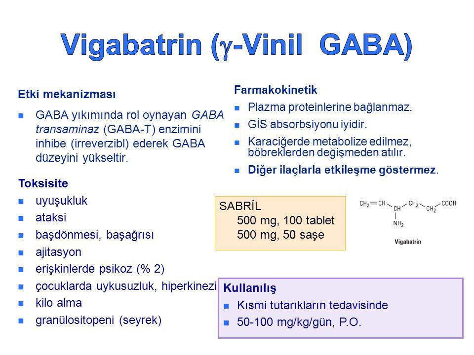 Etki mekanizması GABA yıkımında rol oynayan GABA transaminaz (GABA-T) enzimini inhibe (irreverzibl) ederek GABA düzeyini yükseltir. Farmakokinetik Pla