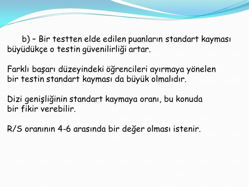 c)- Bir testte, istenen puan dağılımı testin kullanılış maksadına bağlıdır.