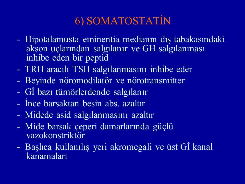 6) SOMATOSTATİN - Hipotalamusta eminentia medianın dış tabakasındaki akson uçlarından salgılanır ve GH salgılanması inhibe eden bir peptid - TRH aracı