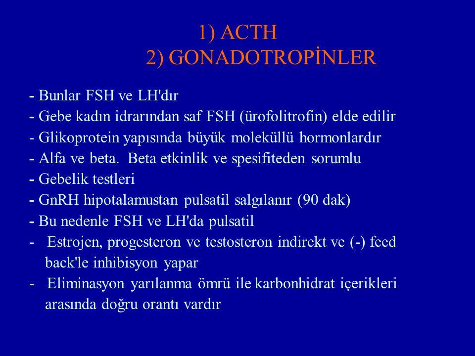 1) ACTH 2) GONADOTROPİNLER - Bunlar FSH ve LH'dır - Gebe kadın idrarından saf FSH (ürofolitrofin) elde edilir - Glikoprotein yapısında büyük moleküllü