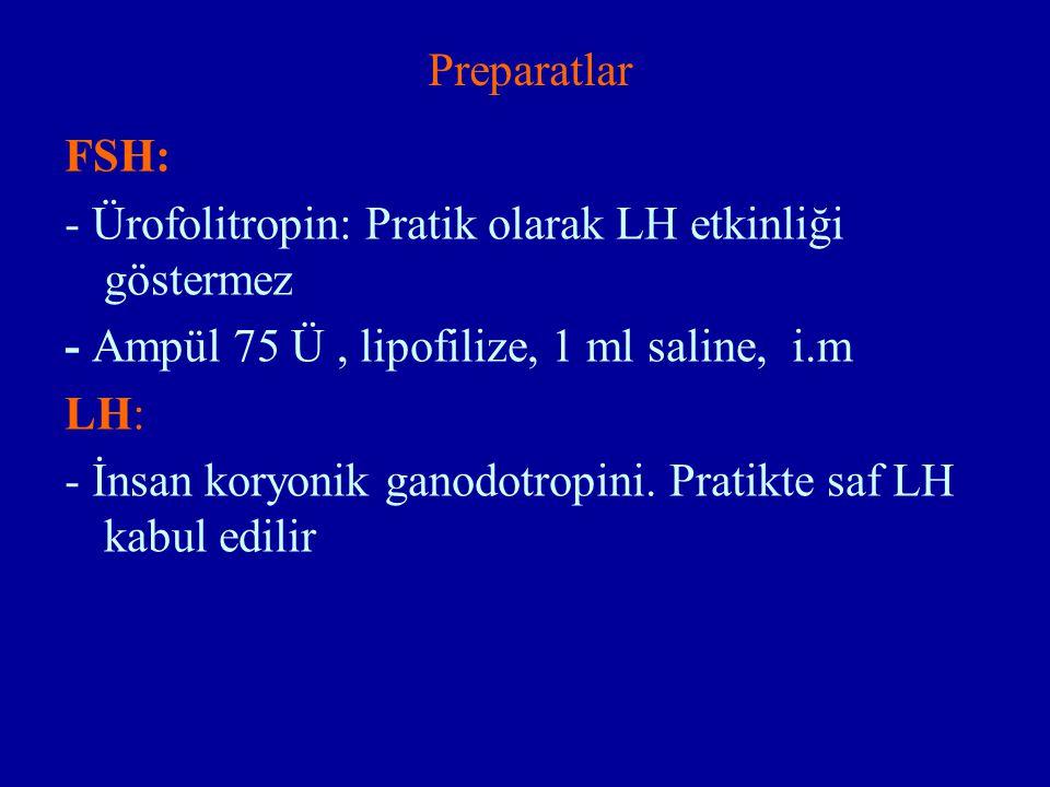 Preparatlar FSH: - Ürofolitropin: Pratik olarak LH etkinliği göstermez - Ampül 75 Ü, lipofilize, 1 ml saline, i.m LH: - İnsan koryonik ganodotropini.