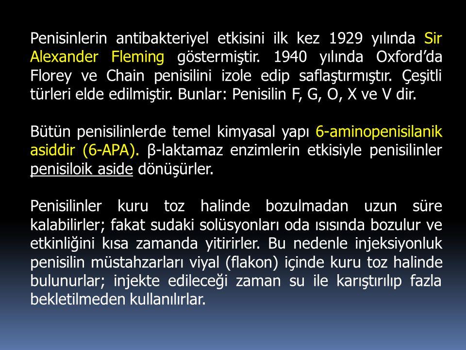 Penisinlerin antibakteriyel etkisini ilk kez 1929 yılında Sir Alexander Fleming göstermiştir. 1940 yılında Oxford'da Florey ve Chain penisilini izole
