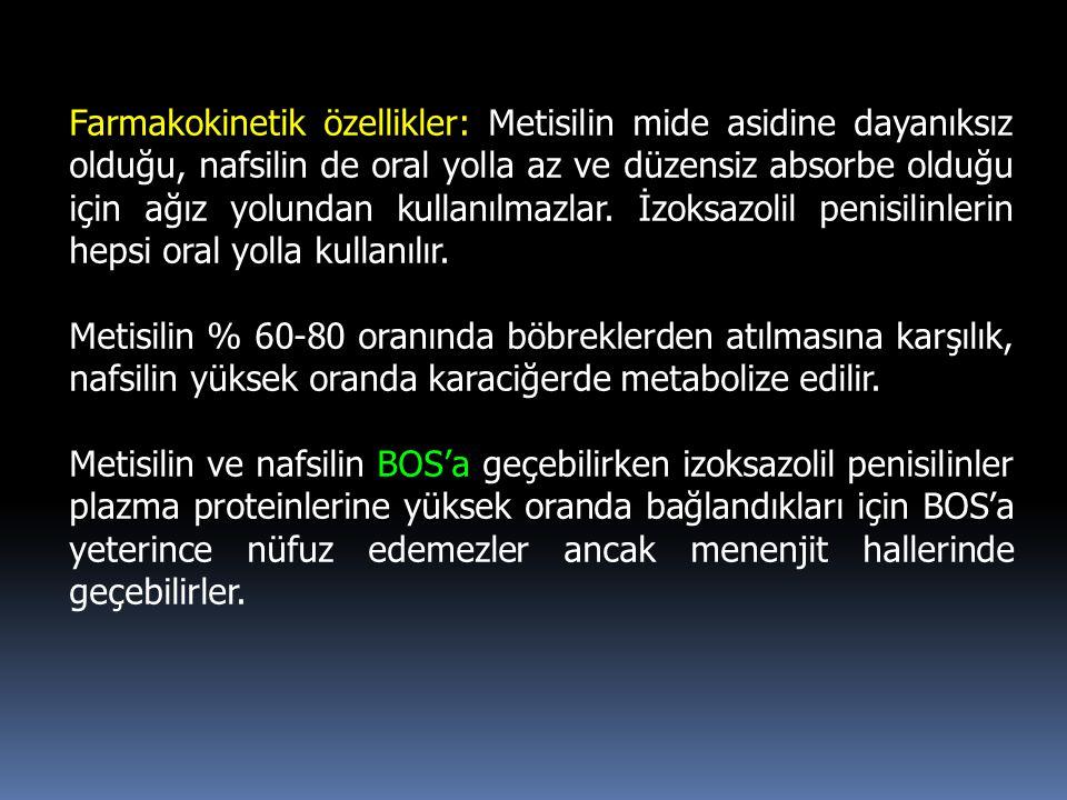 Farmakokinetik özellikler: Metisilin mide asidine dayanıksız olduğu, nafsilin de oral yolla az ve düzensiz absorbe olduğu için ağız yolundan kullanılm
