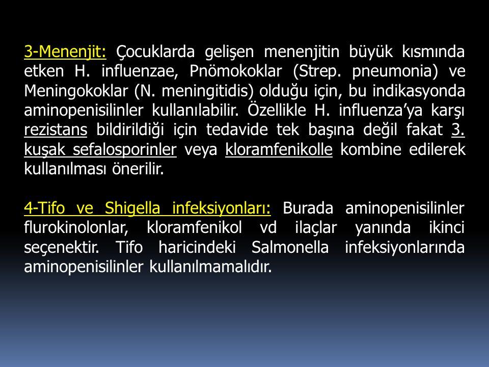 3-Menenjit: Çocuklarda gelişen menenjitin büyük kısmında etken H. influenzae, Pnömokoklar (Strep. pneumonia) ve Meningokoklar (N. meningitidis) olduğu