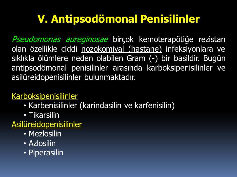 V. Antipsodömonal Penisilinler Pseudomonas aureginosae birçok kemoterapötiğe rezistan olan özellikle ciddi nozokomiyal (hastane) infeksiyonlara ve sık