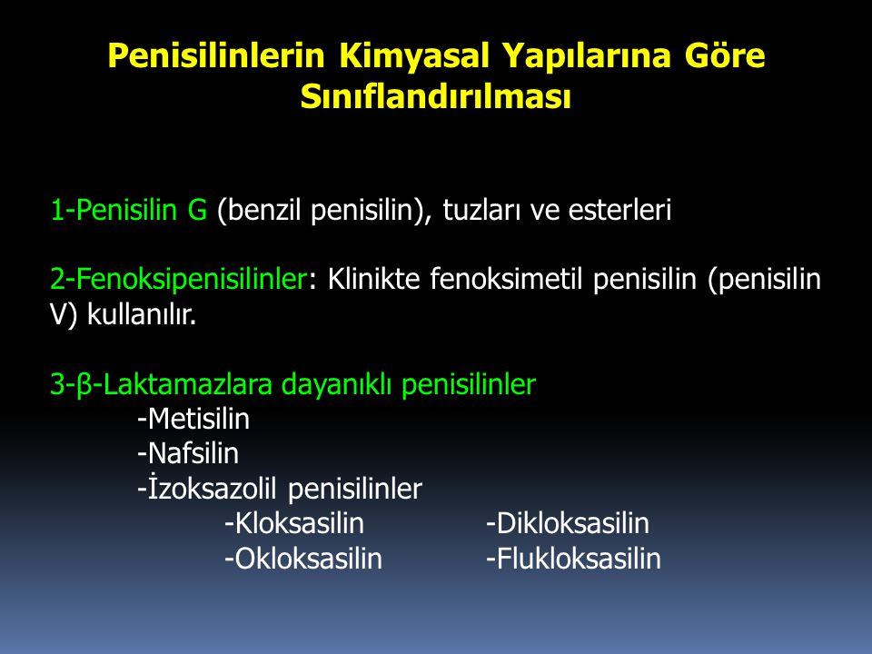 Penisilinlerin Kimyasal Yapılarına Göre Sınıflandırılması 1-Penisilin G (benzil penisilin), tuzları ve esterleri 2-Fenoksipenisilinler: Klinikte fenok