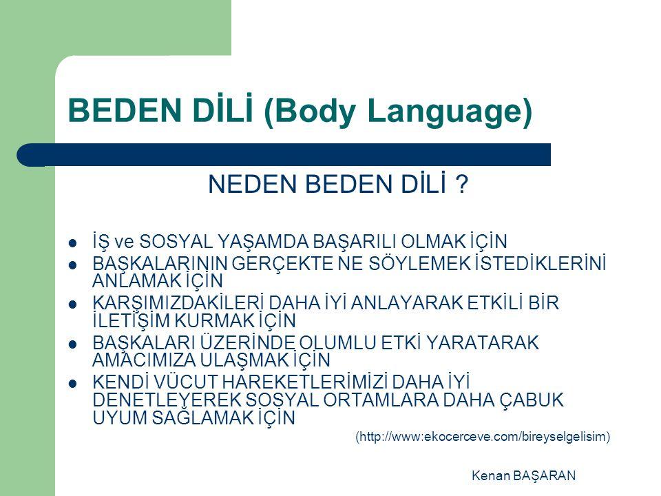 Kenan BAŞARAN BEDEN DİLİ (Body Language) NEDEN BEDEN DİLİ ? İŞ ve SOSYAL YAŞAMDA BAŞARILI OLMAK İÇİN BAŞKALARININ GERÇEKTE NE SÖYLEMEK İSTEDİKLERİNİ A