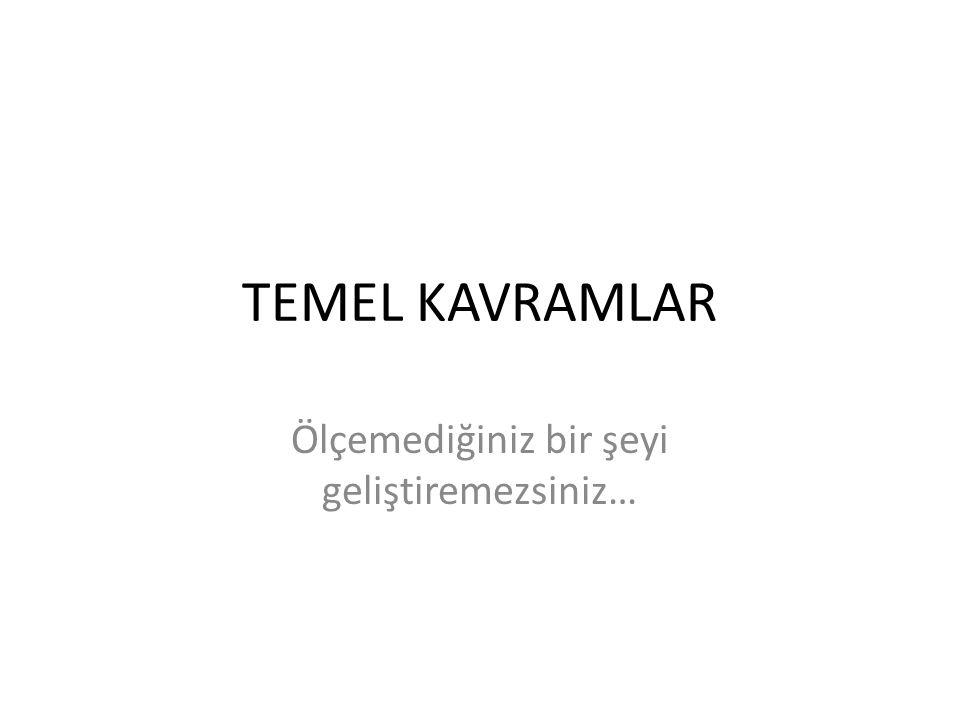 TEMEL KAVRAMLAR Ölçemediğiniz bir şeyi geliştiremezsiniz…