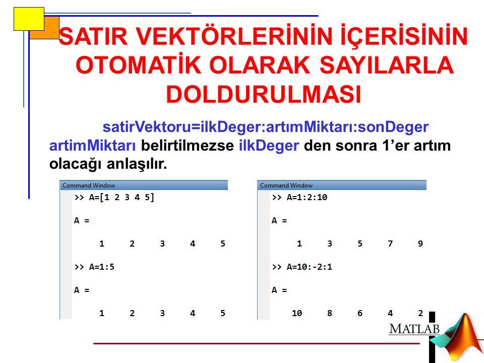 satirVektoru=ilkDeger:artımMiktarı:sonDeger artimMiktarı belirtilmezse ilkDeger den sonra 1'er artım olacağı anlaşılır. SATIR VEKTÖRLERİNİN İÇERİSİNİN