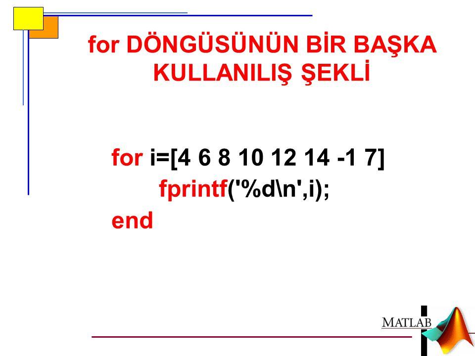 for DÖNGÜSÜNÜN BİR BAŞKA KULLANILIŞ ŞEKLİ for i=[4 6 8 10 12 14 -1 7] fprintf( %d\n ,i); end