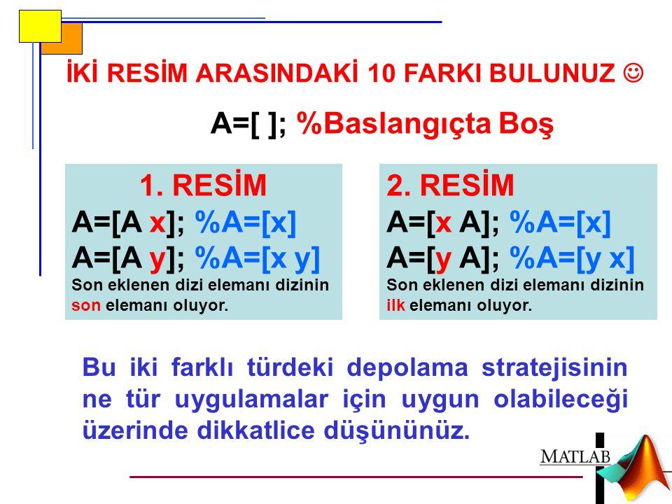 İKİ RESİM ARASINDAKİ 10 FARKI BULUNUZ A=[ ]; %Baslangıçta Boş 1. RESİM A=[A x]; %A=[x] A=[A y]; %A=[x y] Son eklenen dizi elemanı dizinin son elemanı