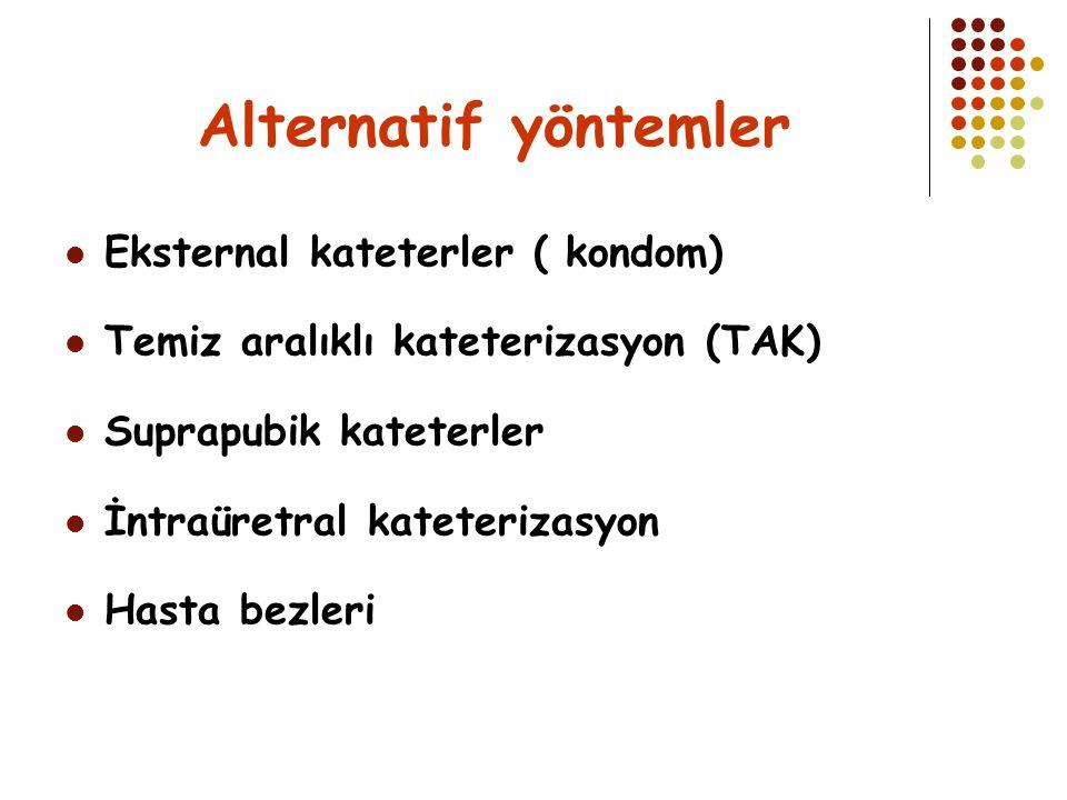 Alternatif yöntemler Eksternal kateterler ( kondom) Temiz aralıklı kateterizasyon (TAK) Suprapubik kateterler İntraüretral kateterizasyon Hasta bezler