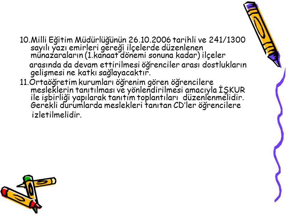 10.Milli Eğitim Müdürlüğünün 26.10.2006 tarihli ve 241/1300 sayılı yazı emirleri gereği ilçelerde düzenlenen münazaraların (1.kanaat dönemi sonuna kad