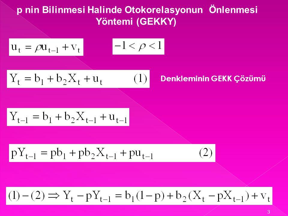 ► p nin bilinmesi halinde otokorelasyonun önlenmesi yöntemi (GEKKY) ► p nin bilinmemesi halinde otokorelasyonun önlenmesi yöntemi (GEKKY) 2