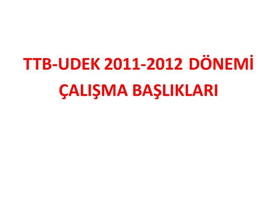 TTB-UDEK 2011-2012 DÖNEMİ ÇALIŞMA BAŞLIKLARI