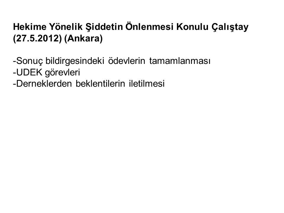Hekime Yönelik Şiddetin Önlenmesi Konulu Çalıştay (27.5.2012) (Ankara) -Sonuç bildirgesindeki ödevlerin tamamlanması -UDEK görevleri -Derneklerden beklentilerin iletilmesi