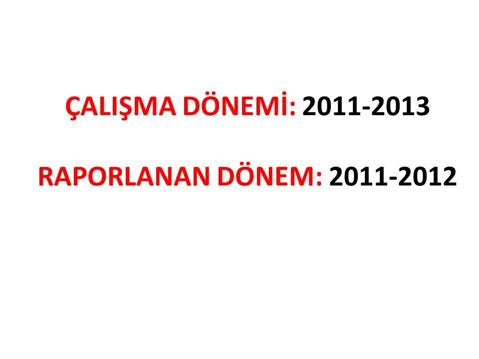 ÇALIŞMA DÖNEMİ: 2011-2013 RAPORLANAN DÖNEM: 2011-2012