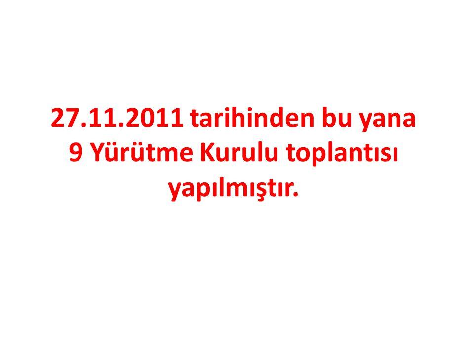 27.11.2011 tarihinden bu yana 9 Yürütme Kurulu toplantısı yapılmıştır.