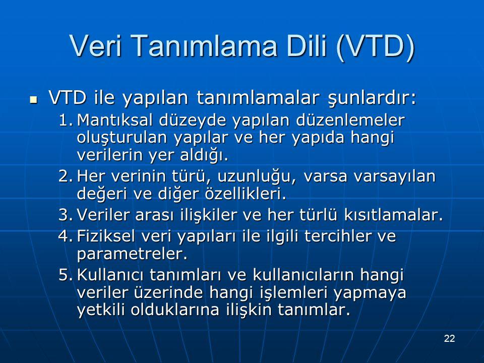 22 Veri Tanımlama Dili (VTD) VTD ile yapılan tanımlamalar şunlardır: VTD ile yapılan tanımlamalar şunlardır: 1.Mantıksal düzeyde yapılan düzenlemeler oluşturulan yapılar ve her yapıda hangi verilerin yer aldığı.