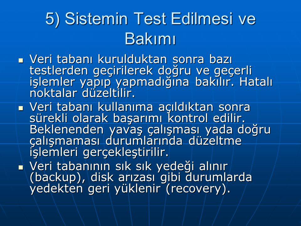 5) Sistemin Test Edilmesi ve Bakımı Veri tabanı kurulduktan sonra bazı testlerden geçirilerek doğru ve geçerli işlemler yapıp yapmadığına bakılır.