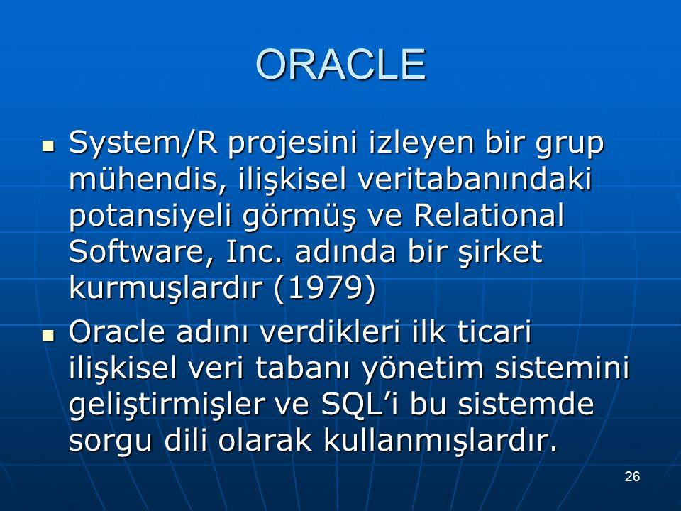 26 ORACLE System/R projesini izleyen bir grup mühendis, ilişkisel veritabanındaki potansiyeli görmüş ve Relational Software, Inc. adında bir şirket ku