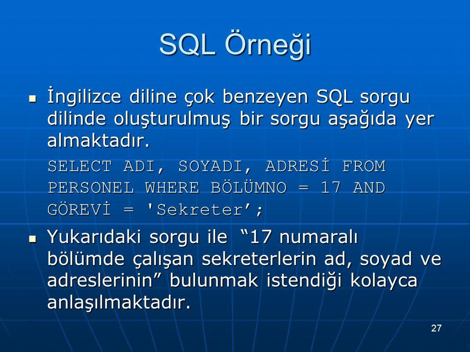 27 SQL Örneği İngilizce diline çok benzeyen SQL sorgu dilinde oluşturulmuş bir sorgu aşağıda yer almaktadır.
