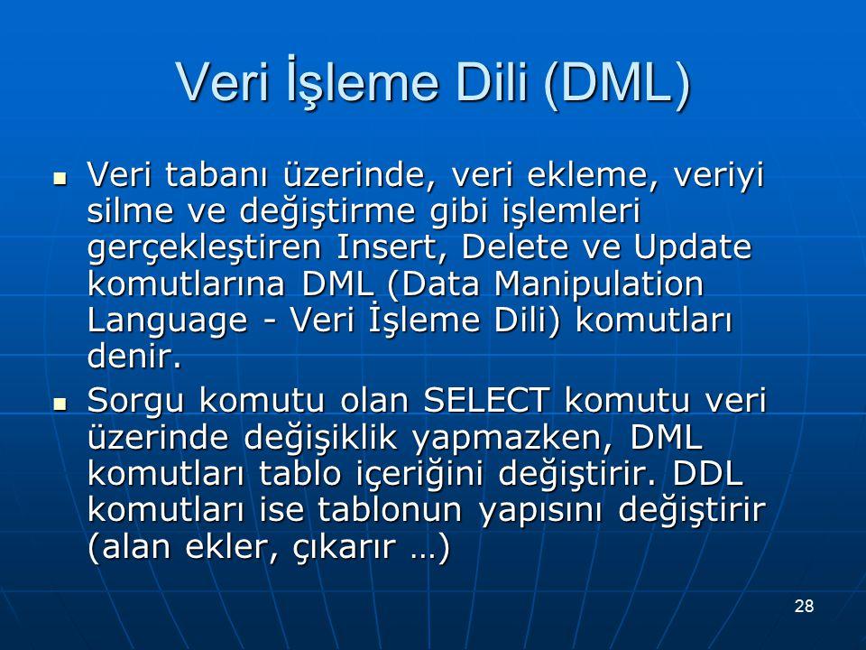 28 Veri İşleme Dili (DML) Veri tabanı üzerinde, veri ekleme, veriyi silme ve değiştirme gibi işlemleri gerçekleştiren Insert, Delete ve Update komutlarına DML (Data Manipulation Language - Veri İşleme Dili) komutları denir.