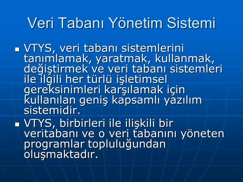 Veri Tabanı Yönetim Sistemi VTYS, veri tabanı sistemlerini tanımlamak, yaratmak, kullanmak, değiştirmek ve veri tabanı sistemleri ile ilgili her türlü işletimsel gereksinimleri karşılamak için kullanılan geniş kapsamlı yazılım sistemidir.